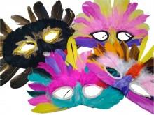 Máscara con plumas x unidad