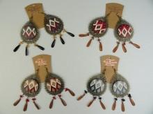 Aro chapón madera estampada y gotas facetadas