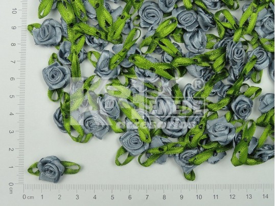 Rococó de raso 1,5cm con cinta verde