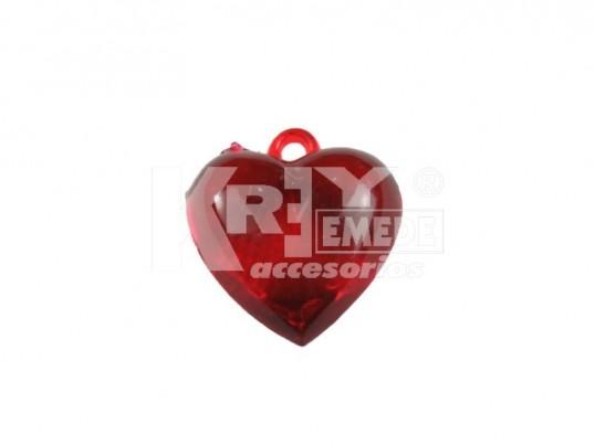 Corazón acrílico liso rojo x 196 gr