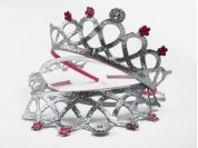 Vincha corona plata c/ florcitas facetadas